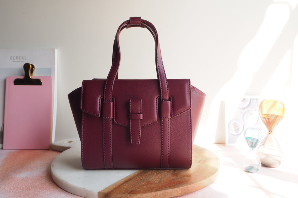 Mini Callie Tote Bag - Burgundy Color