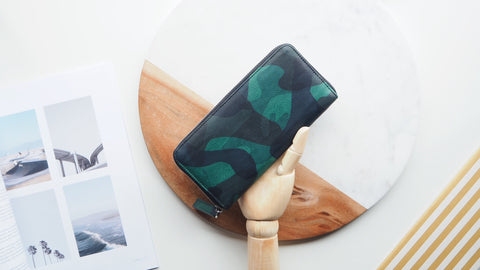 Camouflage Round Zip Wallet - Dark Green