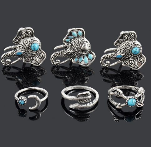 6 Piece Elephant Ring Set - Above the Stars