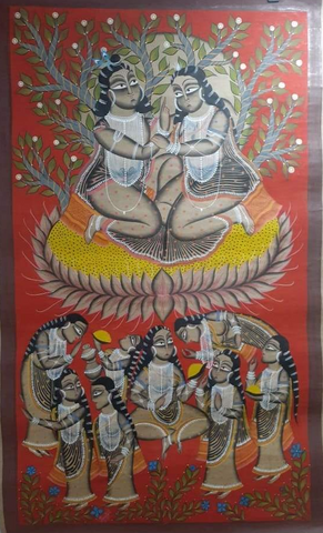 RADHA KRISHNA , HANDPAINTED IN KALIGHAT STYLE BY MANORANJAN CHITRAKAR