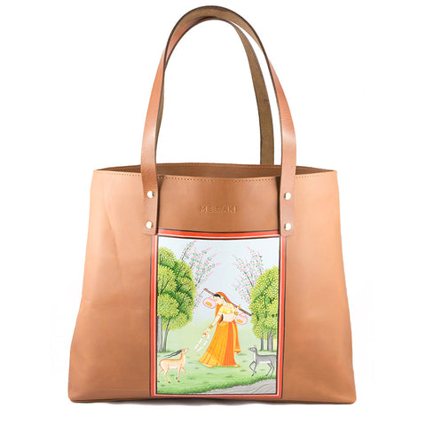 Ragini Todi | Kangra Handpainted Genuine Leather Tote | Brown Leather handbag