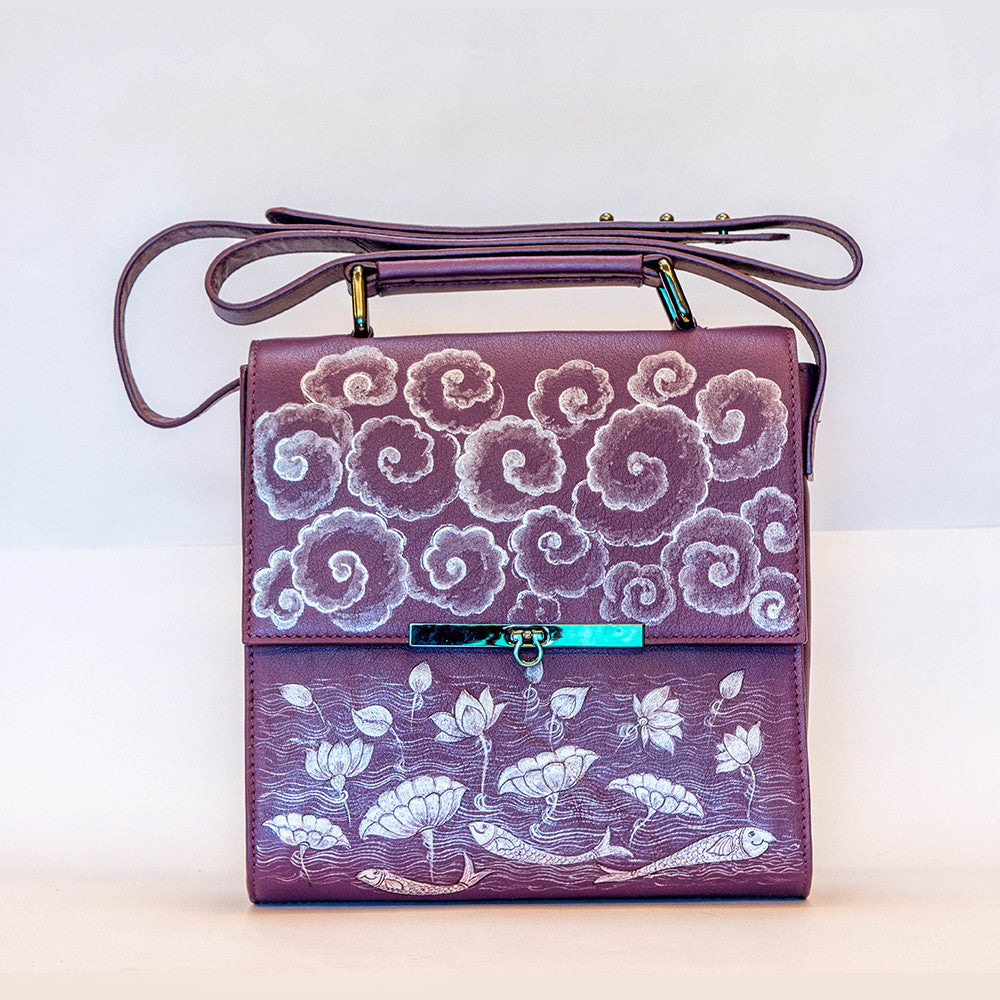 Artisanal handpainted folk art bag from India