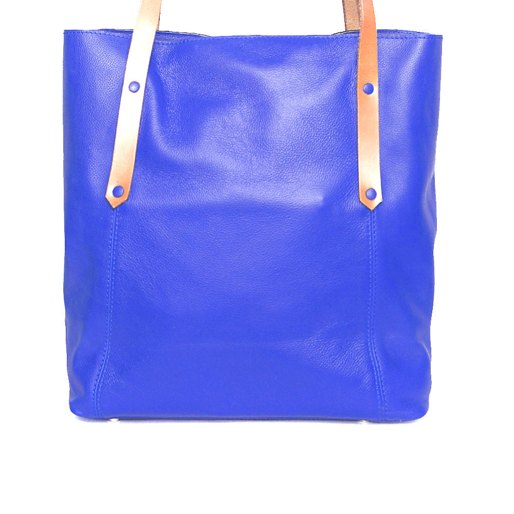 Handpainted blue leather tote with tree of life