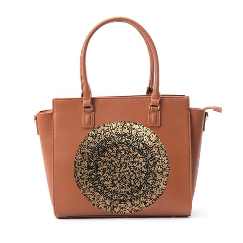 FLOWERS TAN LAPTOP BAG