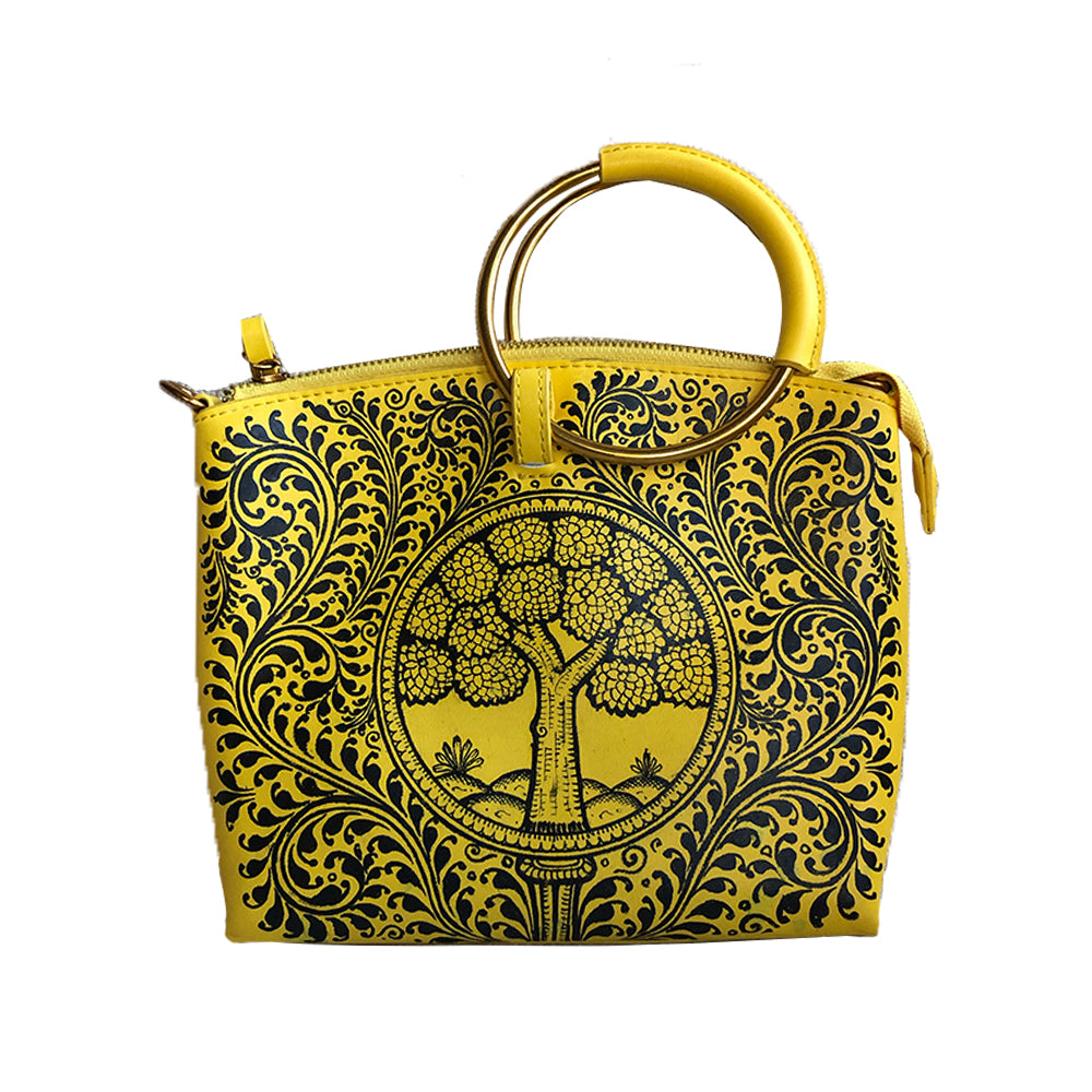 'Tree of life' handpainted yellow wristlet / sling