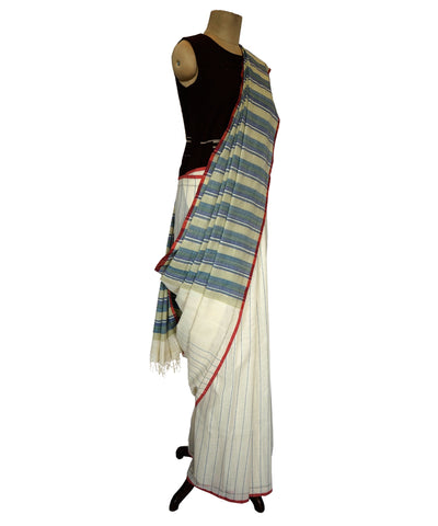 Half stripe- Multicolor Handwoven Cotton Saree