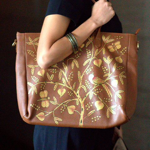 BIRDS OF A FEATHER, TAN LEATHER TOTE BAG