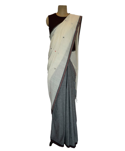 Charkut buti- Off white & Grey Handwoven Cotton Saree