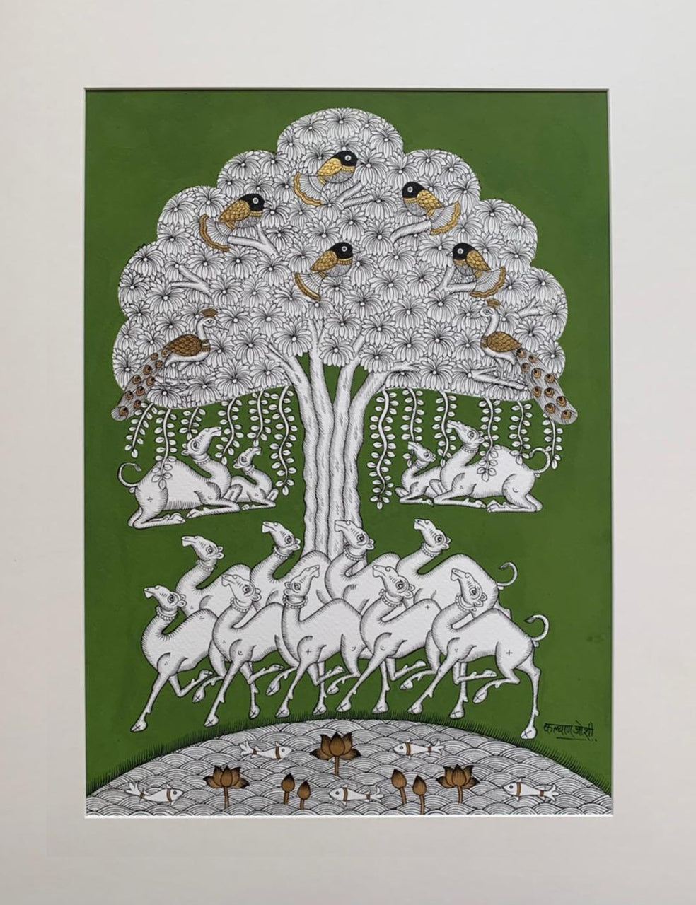 Tree of Life, Phad painting by Kalyan Joshi (Green & white)