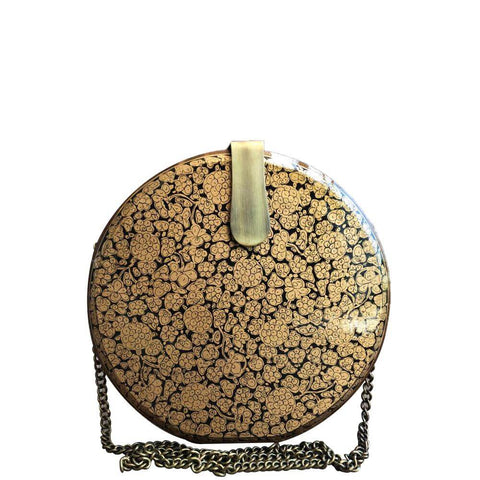 GOLDEN FLOWERS, WOODEN CLUTCH