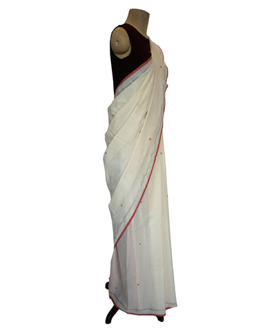 DIAMOND -ORANGE and OFF WHITE Handwoven Cotton Saree