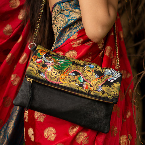 Where be Dragons, Black Foldover Clutch/Sling
