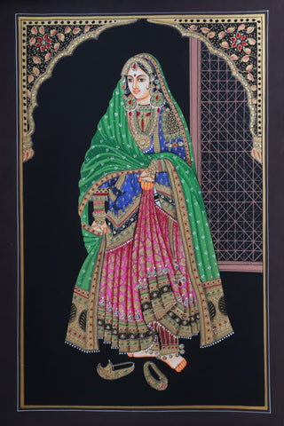 Amritsari Pair - Miniature Painting By Rajendra Sharma