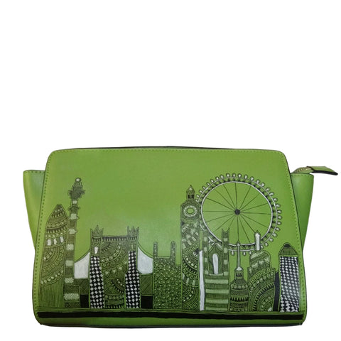 Handpainted Madhubani London skyline on green leather crossbody
