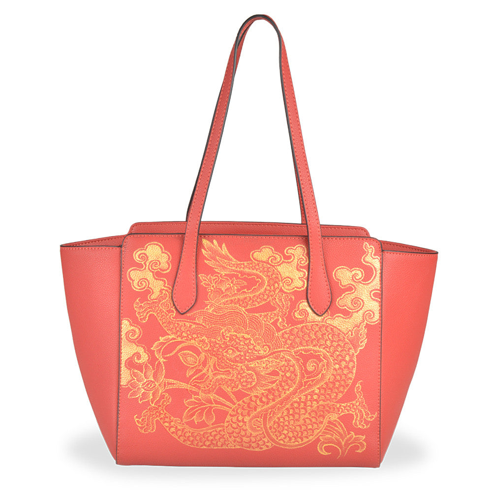 Red Leather Handbag | Handpainted Bags