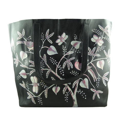 Birds of Feather white, BLACK TOTE BAG