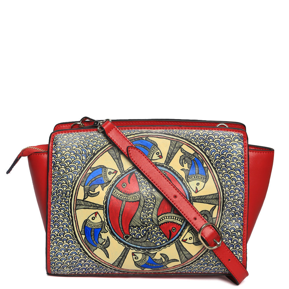 Handpainted red leather Sling with madhubani fish