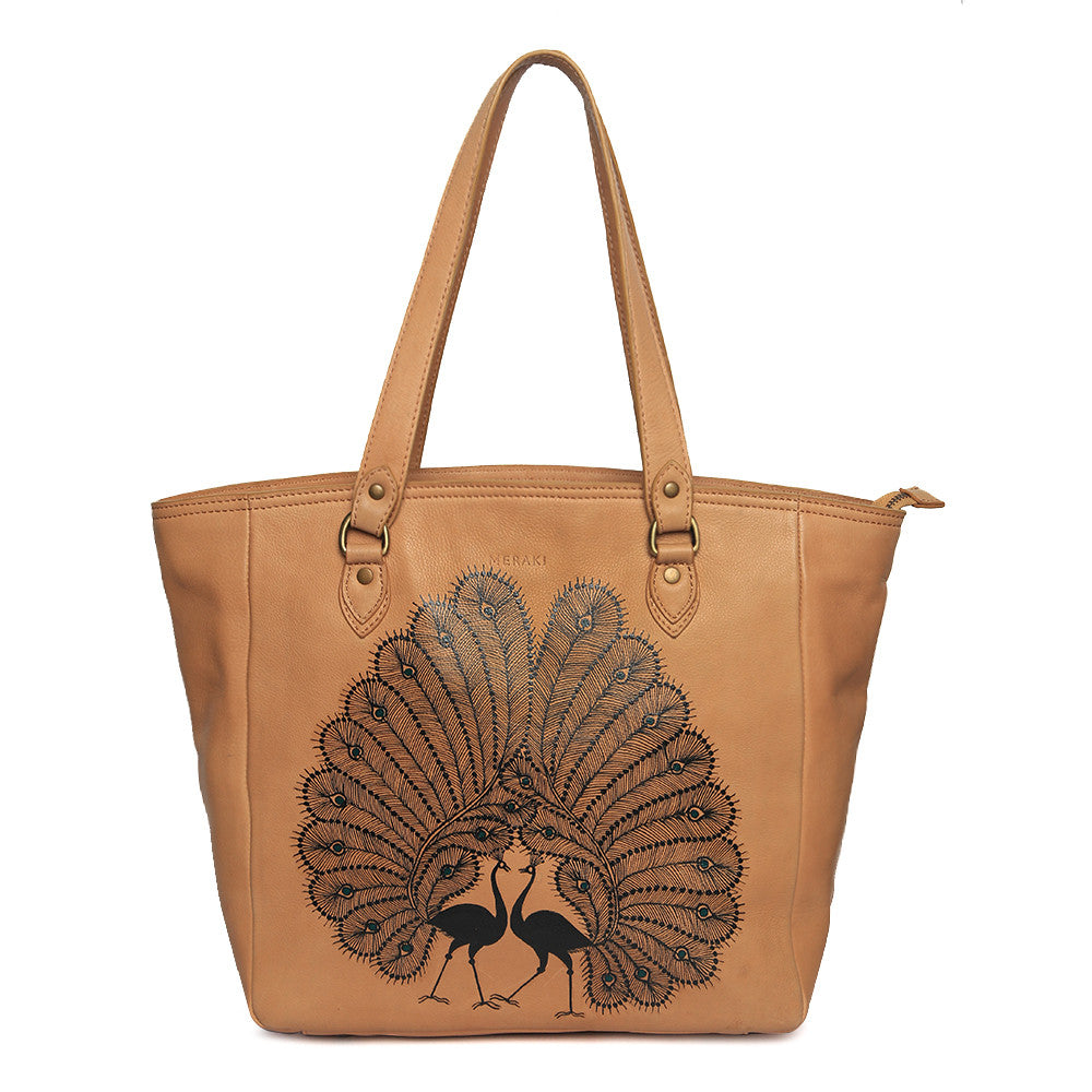 Peacocks Handbags | Tan Eco Leather Handbags |  Handpainted Bags