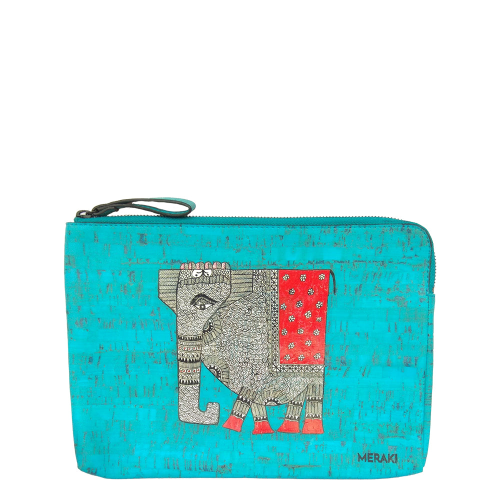 Elephant, handpainted vegan cork ipad/tablet sleeve