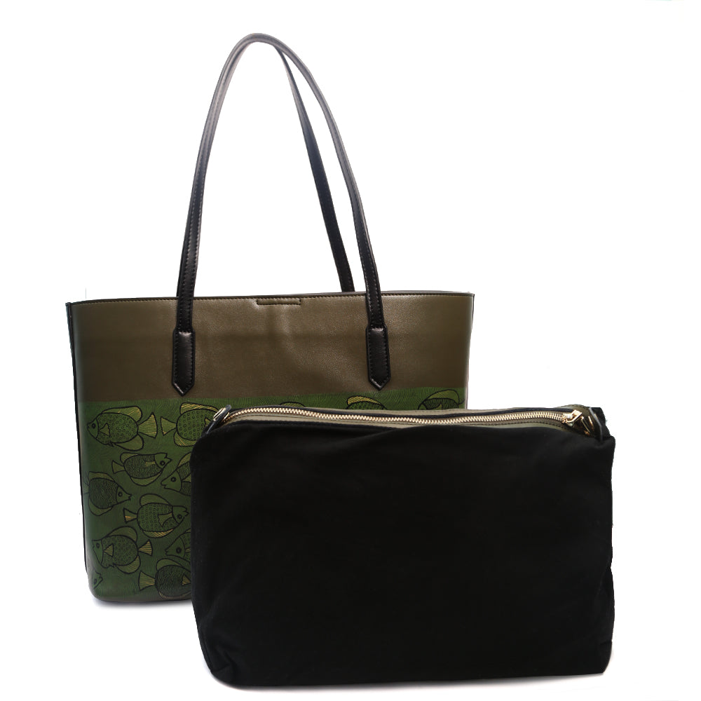 Ebbs and Flows, Olive Green Tote
