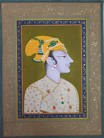 The King and Queen, Bani Thani Miniature style, set of 2 paintings by Mohan Prajapati