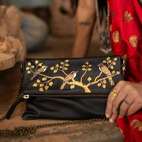 BIRDS OF A FEATHER, GOLD SILK CLUTCH