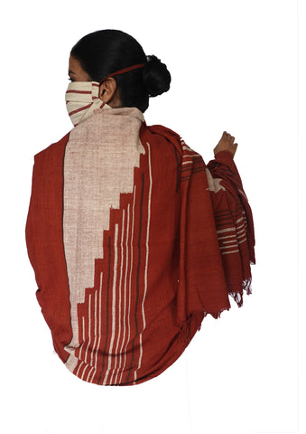 Stories in lines , Kotpad woven stole and mask combo (cream and rust)