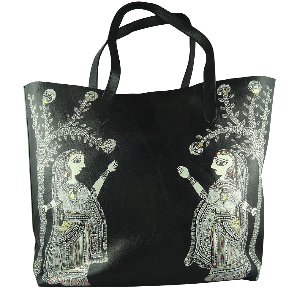 A STROLL THROUGH THE SPOKEN FOREST, LEATHER TOTE BAG