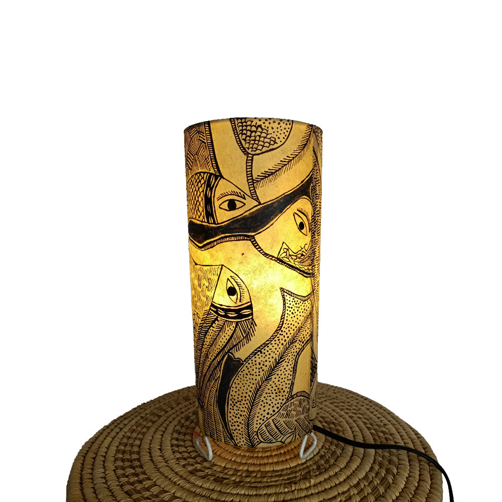 The Deer and the fish, Madhubani handpainted lamp