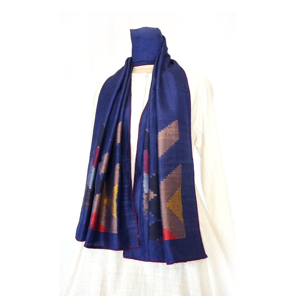 DIAGONAL - BLUE Handwoven SILK STOLE