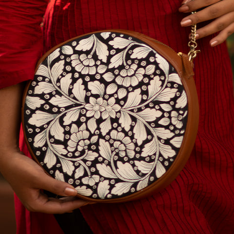 White leaves , Navy Round Sling