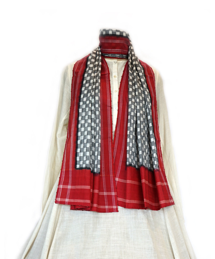 ABSTRACT-  RED/BLACK Handwoven Cotton STOLE