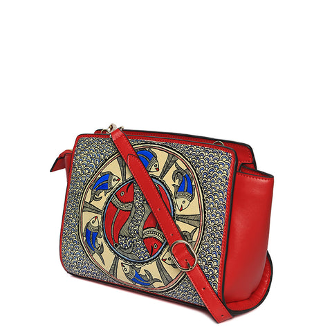 Handpainted red leather crossbody with intricate design