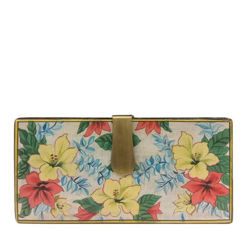 Flowers Pastel, Wood clutch