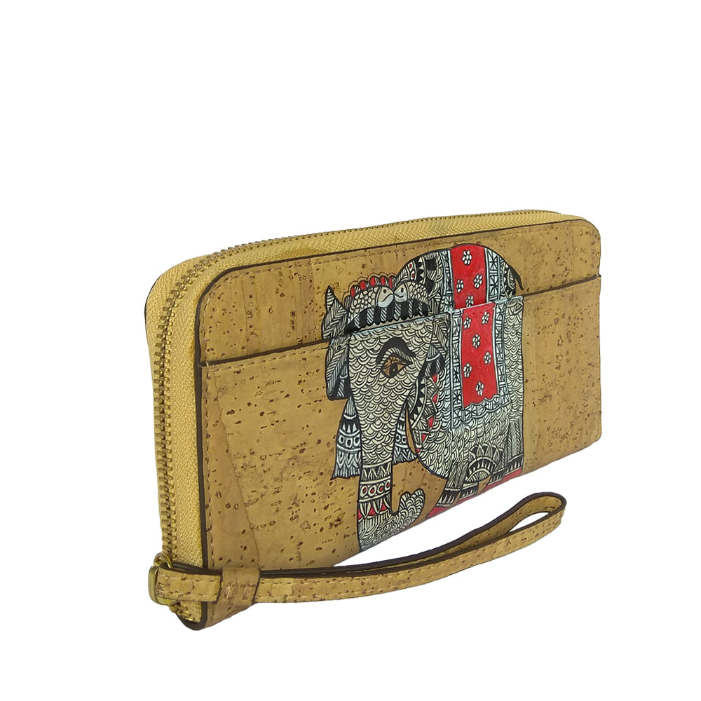 ELEPHANTS, VEGAN CORK HANDPAINTED TAN WALLET