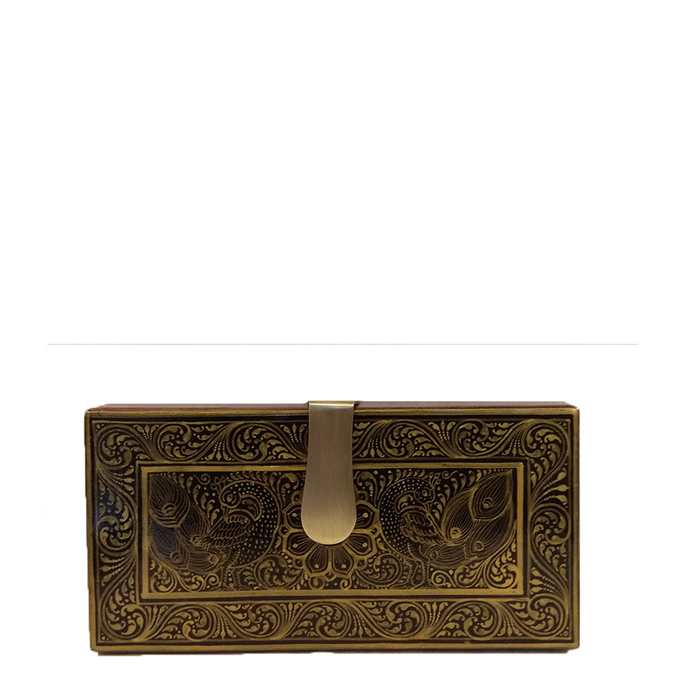 A Tale of Two lovers, gold and black rectangle clutch