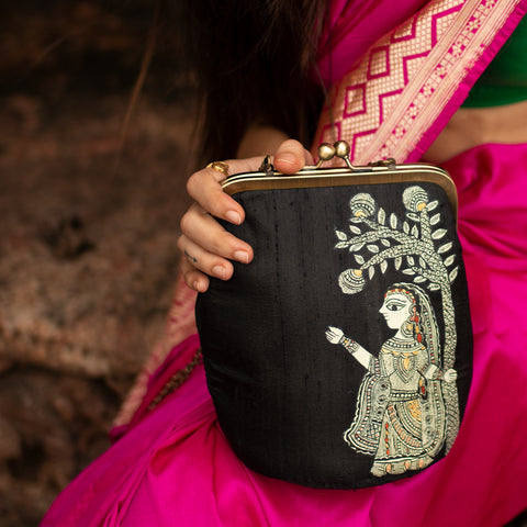 A STROLL THROUGH THE SPOKEN FOREST,BLACK SILK CLUTCH
