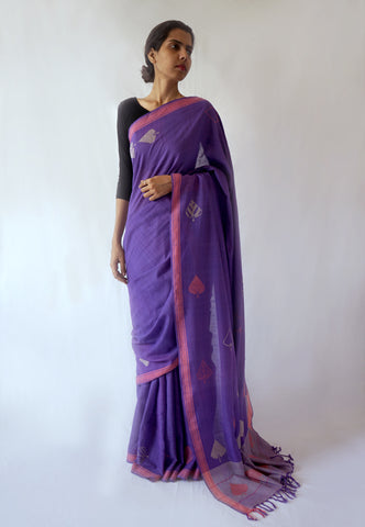 PEEPAL LEAF-   Powder Blue and purple Handwoven Cotton Saree