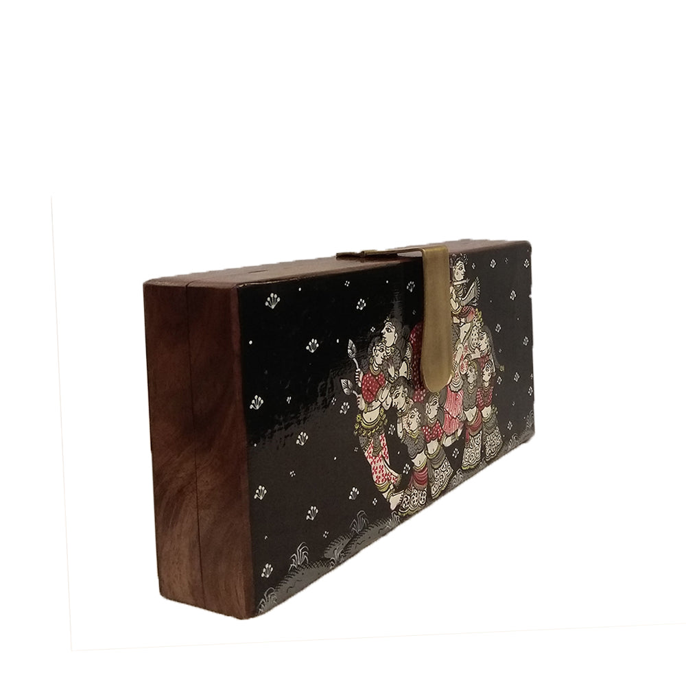 Kandarpa Haathi Rectangle wood clutch