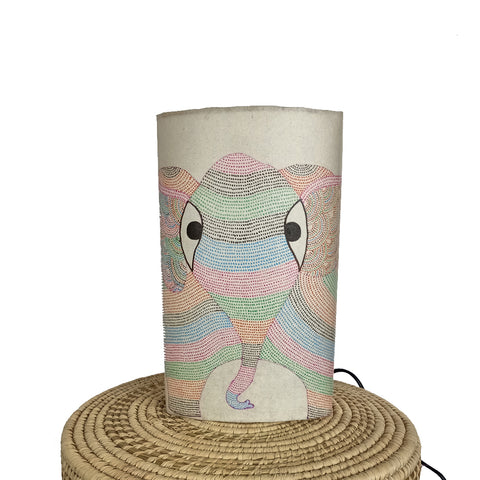 The Elephant, Gond handpainted lamp
