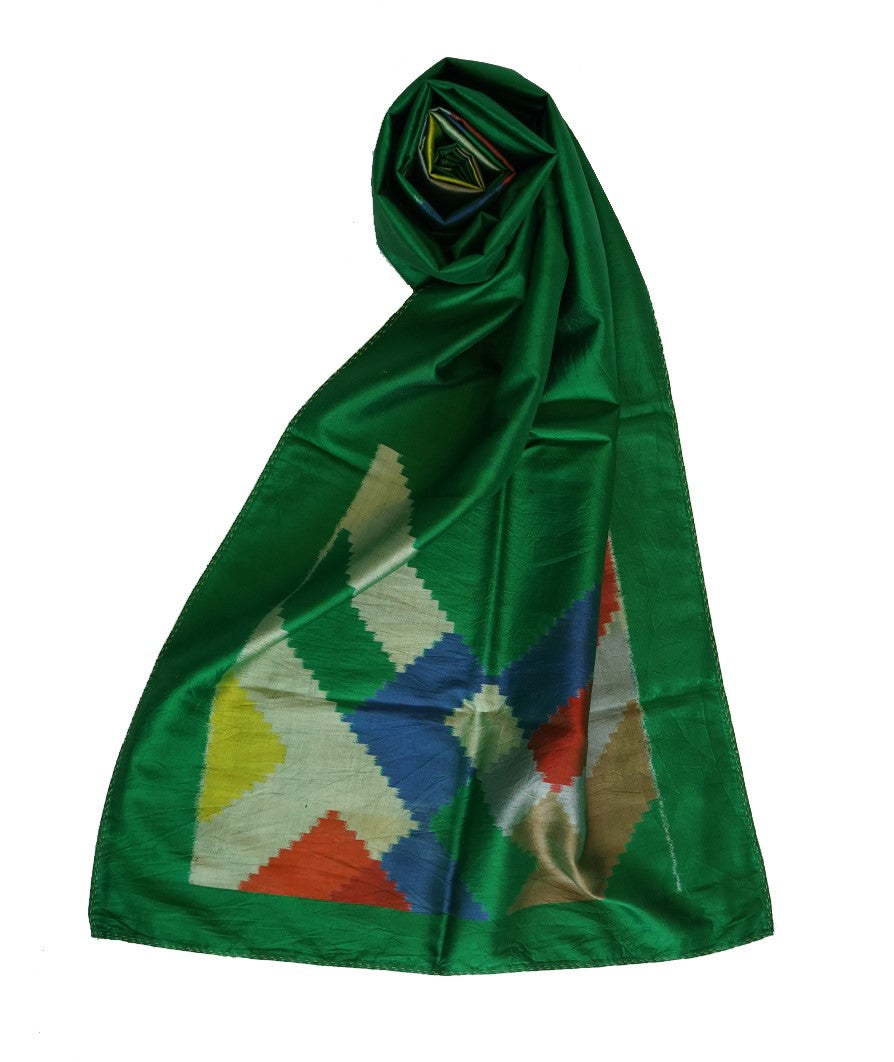 DIAGONAL - GREEN Handwoven SILK STOLE