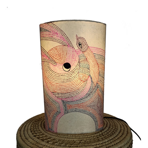 The Elephant and the bird, Gond handpainted lamp