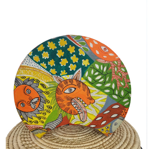 The Tiger, Madhubani handpainted lamp