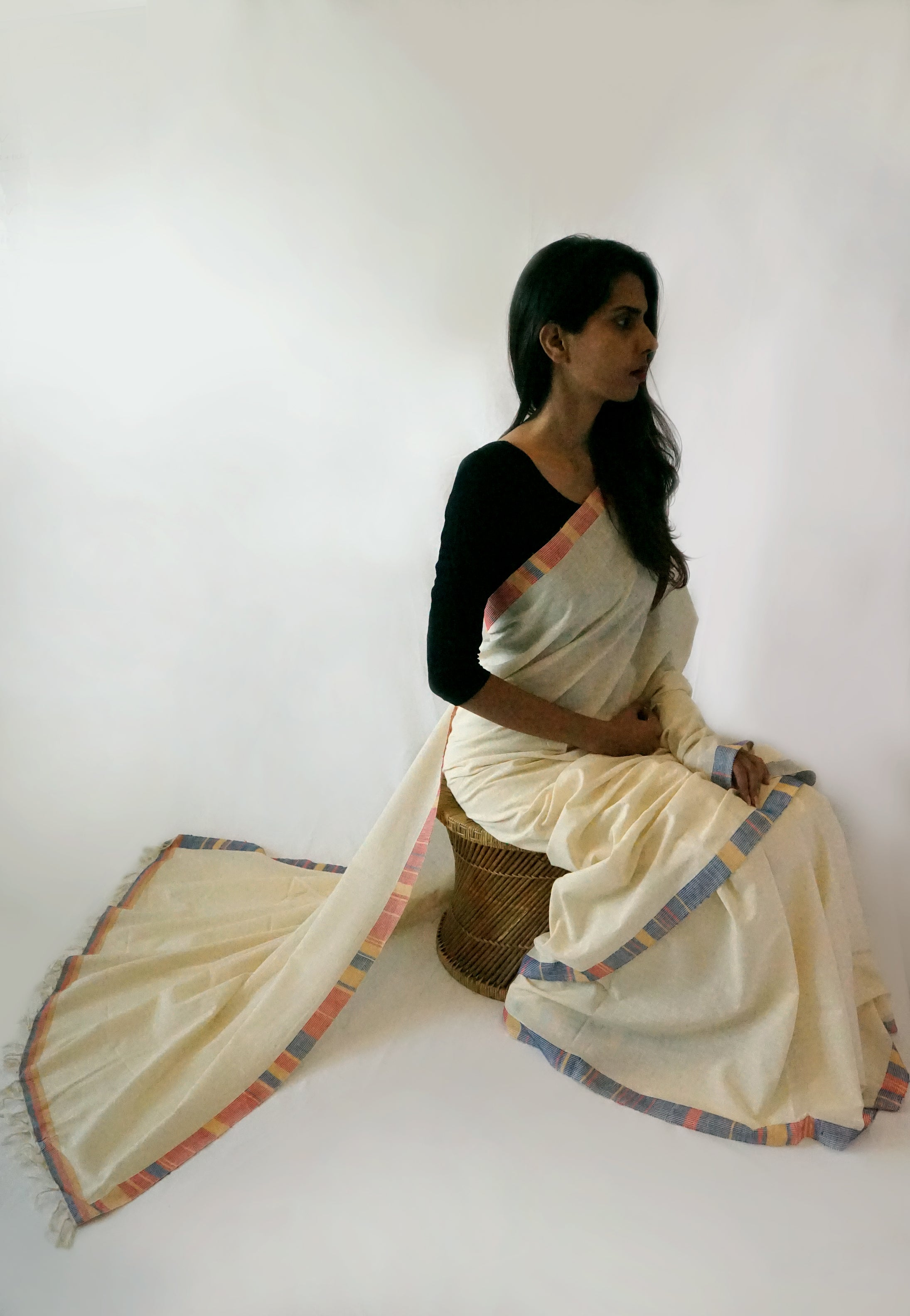 CLIMATE - White with colourful border Handwoven Cotton Saree