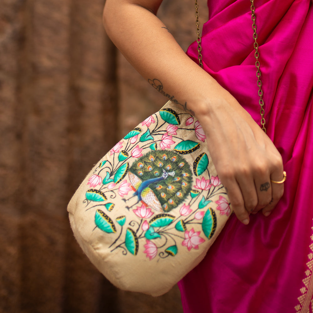 BE LIKE LOTUS, GOLD SILK CLUTCH