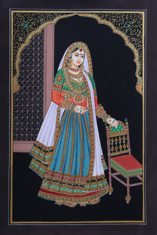 Jodhpuri Pair - Miniature Painting By Rajendra Sharma
