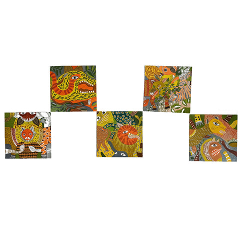 The Tiger and friends, Madhubani handpainted wall paper tiles