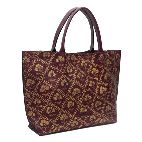 Web of Flowers, Maroon Tote