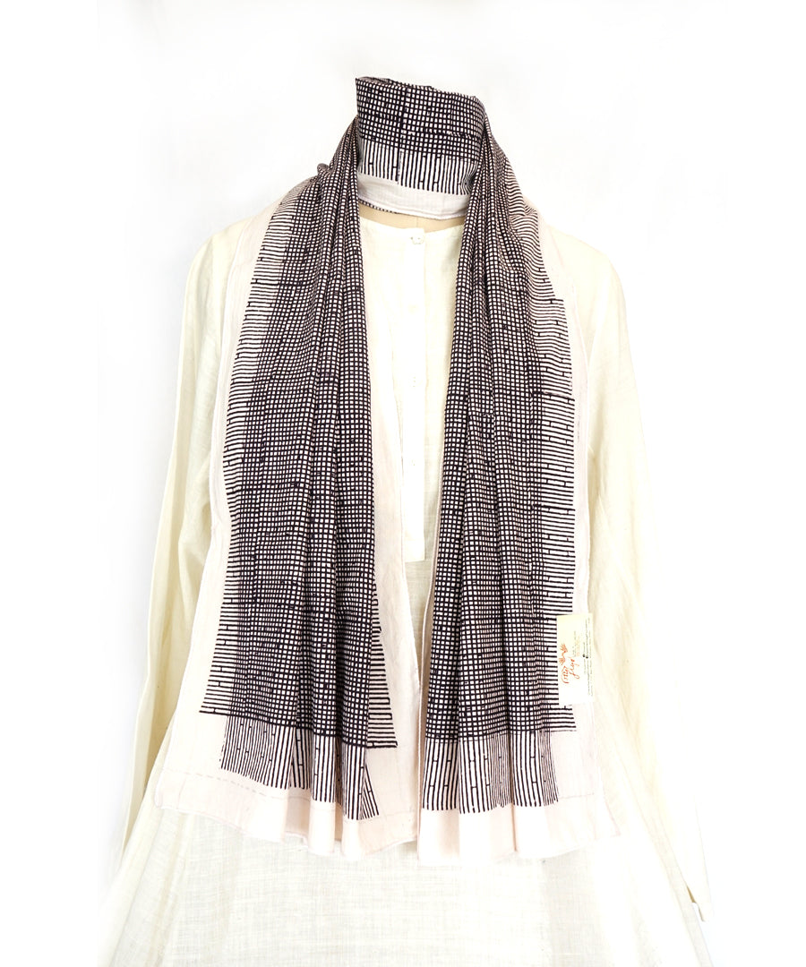 ABSTRACT - Black/white Hand block printed Cotton Stole