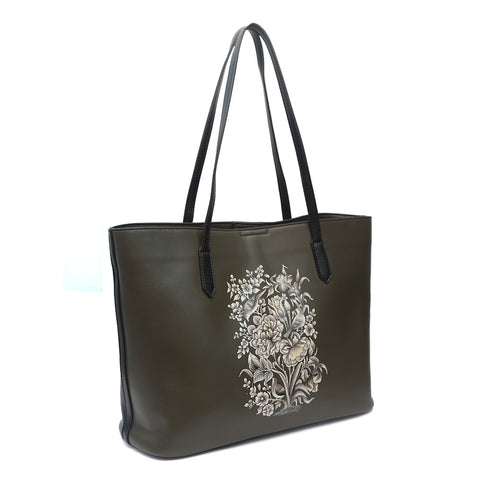 Flowers, Olive Green Tote